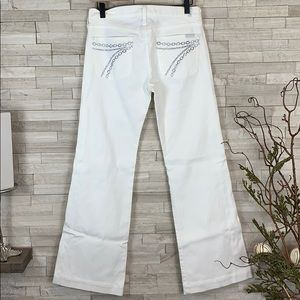 7 For All Mankind White Swarovski Dojo Size 28 EUC